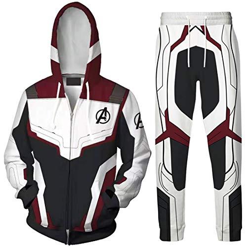 üme Quantum Realm Superhero Bekleidungsets Top mit Lange Hose Streetwear Reißverschluss Jacke Weinrot EU M(Etikett L) ()