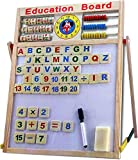 #9: plutofit Magnetic Wooden Multipurpose Double-Sided Writing, Drawing Board with Abacus, Mathematical Calculations and English Alphabets (Multicolour)