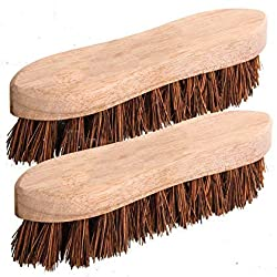 2 x Traditional Floor Scrubbing Brushes Hard Bristle 8