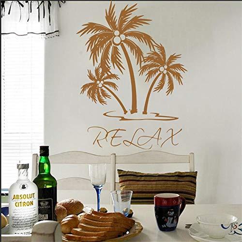 Wandtattoo Vinyl Aufkleber Palme Entspannen Wandkunst Dekor Wohnzimmer Schlafzimmer Haus Dekoration Wandbild Tapete Poster 57 * 76 cm
