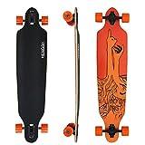 """Hengda® 41"""" Freeride Longboard Street Board 9ply Maple Cruiserboard Skateboard Komplettboard ABEC 9 Kugellager Longboard Orange Finger Härtegrad 80A"""