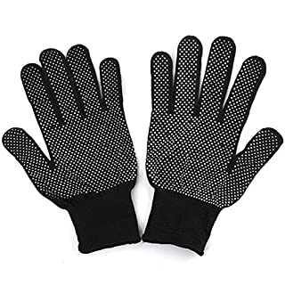 AUAUDATE 1Pair Non-Slip Safety Grip Nylon Work Gloves with PVC Dots (Black)