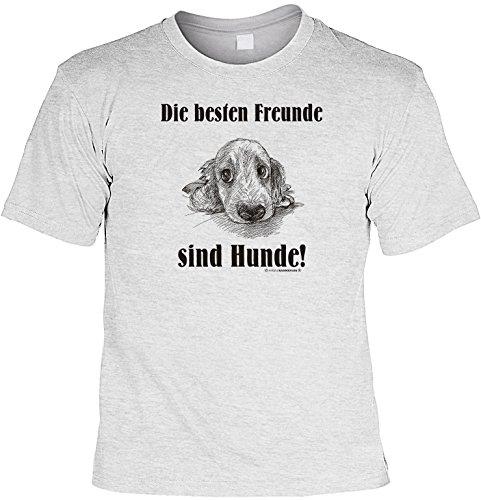 Witziges Spaß-Shirt + gratis Fun-Urkunde: Die besten Freunde sind Hunde! Grau