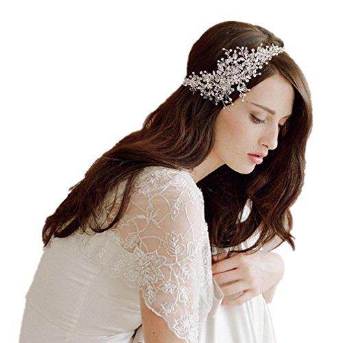 Amorar Stirnband Glamour Haarband Haarreif Spitzen Lace Blumen mit klare Kristall Perle Braut Schmuck Hochzeit Haarschmuck Kopfschmuck Festival,EINWEG Verpackung