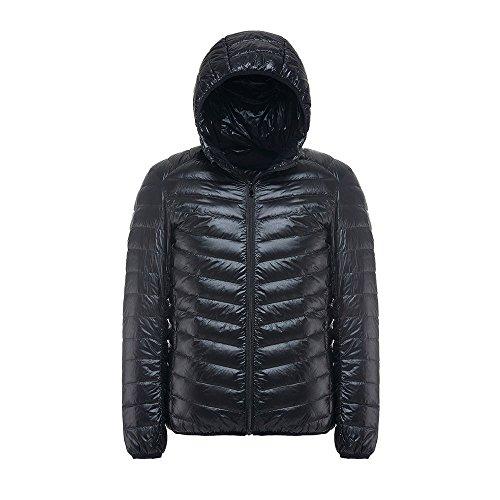 Piumino invernale con cappuccio Uomo, 4yang Cappotti Giacche con cappuccio maschio teenager Slim Fit Giacca Piumino, Black, M