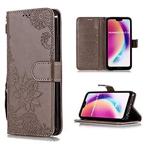 Shinyzone Brieftasche Hülle für Huawei P20,Prägung Henna Mandala Muster Serie,[Standfunktion und Magnetverschluss] Leder Folio Flip Handyhülle mit Kreditkartenfächer for Huawei P20-Grau