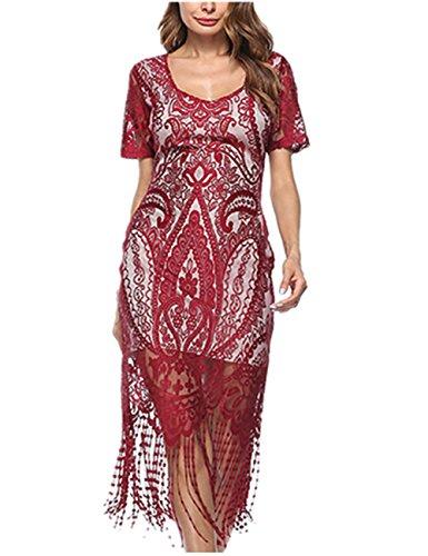 best sneakers 95fdc 7846b SELUXU Donna 1/3 Maniche Vestiti Elegante Abito Rosso Vestito da Matrimonio  Banchetto Sera