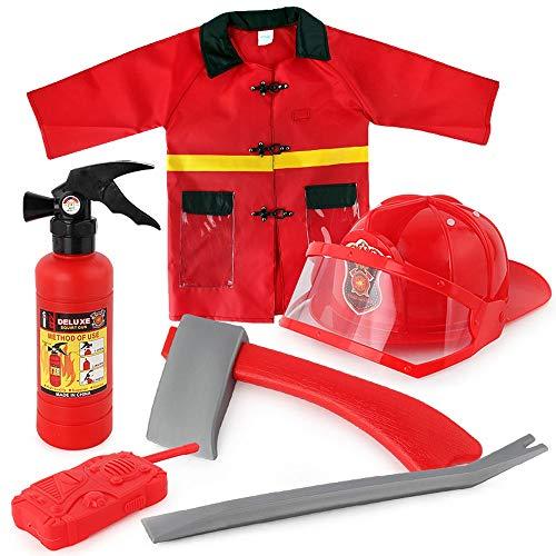 RANRANJJ 6 PC Premium waschbar Kinder Feuerwehrmann Kostüm Spielzeug für Kinder, Jungen, Mädchen, Kleinkinder und Kinder mit komplettem Feuerwehrmann ()