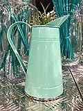Homes on Trend Vaso per fiori in brocca di metallo country shabby verde H21cms centrotavola decorazione centrotavola per matrimoni