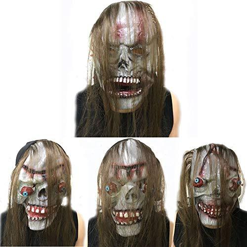 Unbekannt Gruseliges Halloween-Masken Set, 4-teilige Horror-Maske mit Perücke, Karneval Party Ankleiden