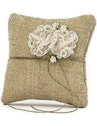 Simp lydeko Anillo Cojín para alianzas de boda | Anillo Cojín en color blanco, Vintage o Ivory