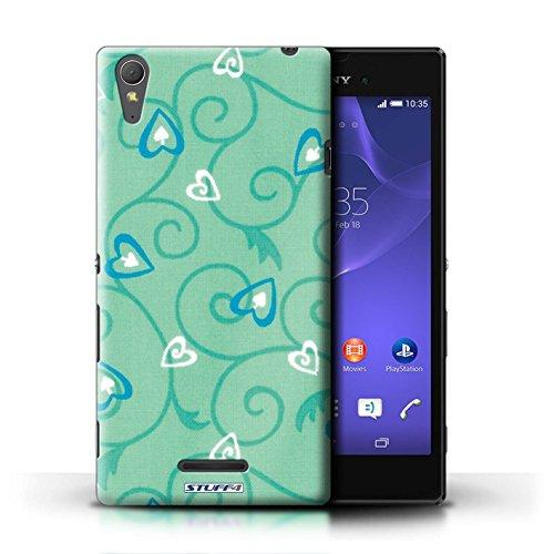 Kobalt® Imprimé Etui / Coque pour Sony Xperia T3 / Turquoise/Bleu conception / Série Coeur Vigne Motif Turquoise/Bleu