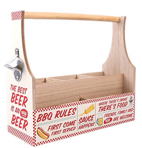 WOODEN BBQ CONDIMENT CRATE BEER CUTLERY HOLD BOTTLE OPENER
