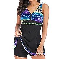 3ebb3f08239c2 VESNIBA LCC Women's Plus Size Gradient Swimsuit Beachwear Padded Swimwear  Black Large