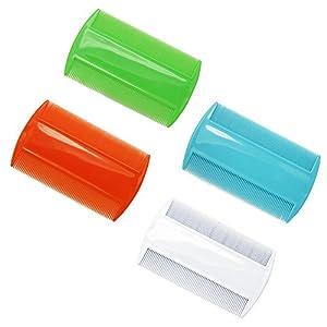 SelfTek 4 Stück doppelseitiger Nitkamm-feine gezahnte pflegenkamm für Hauptläuse und Flöhe zufällige Farbe