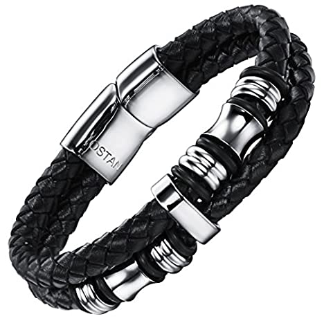 Ostan 316L Stainless Steel and Black Leather Rope Men's Bracelet