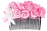 #4: Unique Indian Crafts Pink ,exclusive hand crafted Foam sheet work Hair Comb for Women (UC43 (1))