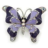 Schmetterlings-Brosche, Flieder/Lila Emaille und Kristall, rhodiniert–50mm W