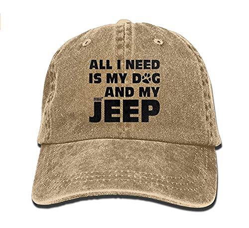 linranshangmao Alles was ich Brauche ist Mein Hund und Mein Jeep verstellbare Gewaschene Kappe Cowboy Baseball Hut (Ich Brauche Ein Kostüm)