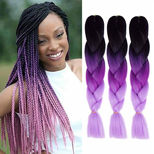 Jumbo braiding hair extensions ombre 3tone colorato per capelli kanekalon sintetica diy crochet trecce box ombre black-purple-pink 3pcs 100 g/pz 61 cm