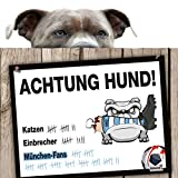 Hunde-Warnschild Schutz vor München-Fans | FC Bayern-, FC Nürnberg- & alle Fußball-Fans, Dieser Revier-Markierer schützt Haus & Hof vor München-Fans | Spaßgarantie | Achtung Vorsicht Hund Bissig | V