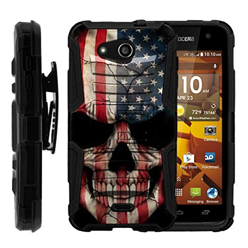 turtlearmor | Kyocera Hydro Wave Fall | Hydro Air Case [Hyper Schock] Hybrid Dual Layer Rüstung Holster Gürtel Clip Case Ständer -, US Flag Skull -