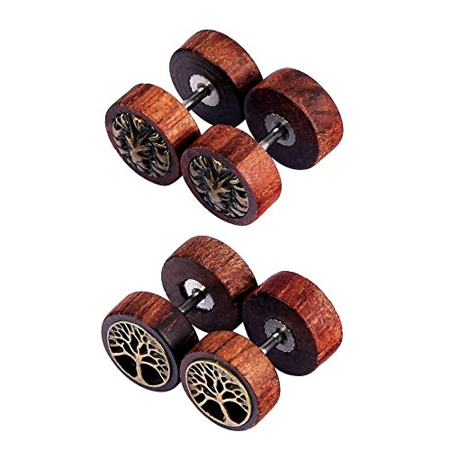 D&Min Jewelry Baum Form 4 Stk. Fakeplugs Faketunnel Fake stretcher Ohrringe Holz Herren Damen Unisex