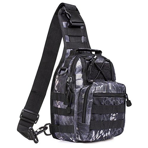 S-ZONE Leichte Tactical Sling Rucksack Militär Schultertasche Umhängetasche EDC Brusttasche für Outdoor Sport Camping Wandern