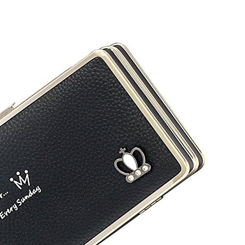 Da donna, portafogli di pelle, Sunroyal Phone Cover Custodia Portafoglio con Carta di Credito, Portafogli da Donna Borsa con Tulipano modello, multifuntionale Smartphone Wristlet Custodia per LG K10 2 Modello 22