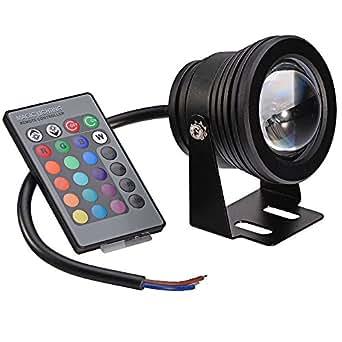 Mudder 10w 12v Ampoule de lampe (RVB) Blanc chaud RVB Multi-couleur LED Waterproof Lumière Sous-marine Projecteur d'extérieur Pour Paysage Fontaine Etang