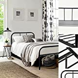 Single Metal Bed Frame Coavas 3ft Single Adults Solid Bedstead Base with 2 Headboard Metal Bed Frame Black