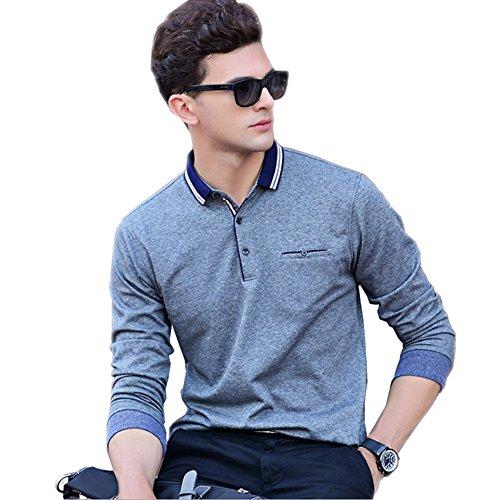 IKRR Polo Shirt für Männer Mode Sommer Kurzarm Shirt T-shirt Casual Top Grau