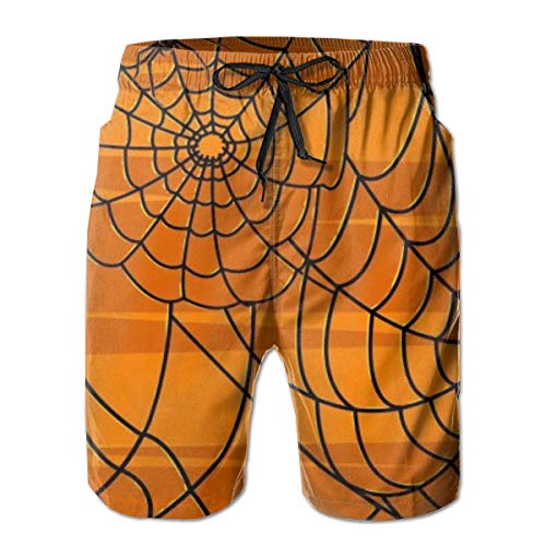 Bensontop Herren Quick Dry Badehose Shorts Beachwear-Spider Orange Stripe 2XL