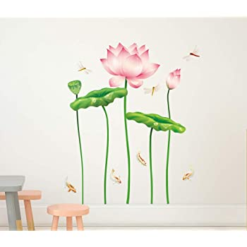 Solimo Wall Sticker for Living Room (Bloom Like a Lotus, Ideal Size on Wall - 120 cm x 135 cm)
