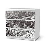 creatisto Möbel-Folie Sticker für Ikea Malm 3 Schubladen | Dekorsticker Klebefolie Möbeltattoo | Einrichtung Gestalten Gestaltungsideen | Design Motiv Petronas Tower View