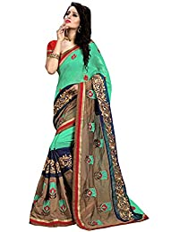 BUNNY SAREES Women's Cotton Saree With Blouse Piece (Nayra6006,Blue,Free Size)