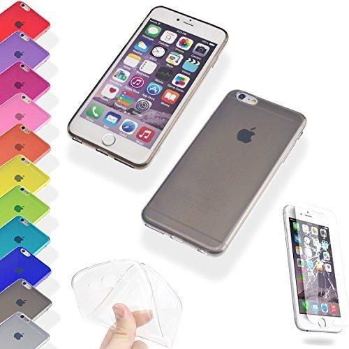 Silikon Hülle und Panzerglas für Apple iPhone 6 6s Bunt Soft Transparent Durchsichtig TPU Hülle Cover Skin Case Schale Bumper Tasche Etui Schutz Gel Folio (iPhone 6 6s, Rot) Schwarz