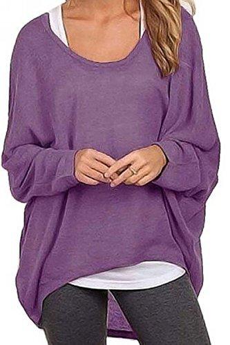Meyison Damen Lose Asymmetrisch Sweatshirt Pullover Bluse Oberteile Oversized Tops T-Shirt Violett XXL