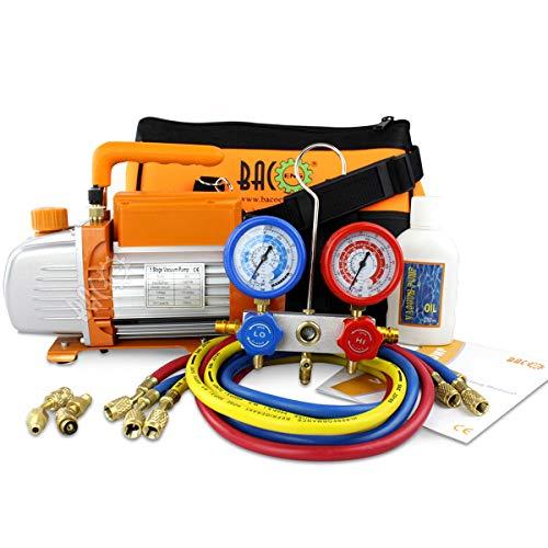 BACOENG Juego de manómetros diagnósticos, Bomba de vacío, Ideal para R22 R134a R410A R407C