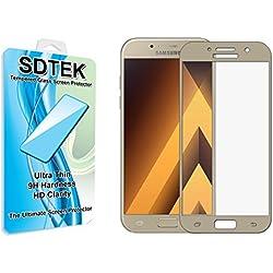 SDTEK Verre Trempé pour Samsung Galaxy A5 2017 Couverture Complète Protection écran Film Résistant aux éraflures Glass Screen Protector Vitre Tempered (Or)