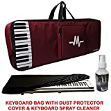Yamaha Musical Keyboards Piano Bag Cover BackPack (For F51, E363, E263, E453, I455) with Thick Foam Padding For Extra Safety - Black/Magenta