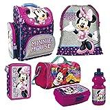 Minnie Maus Mouse 6 TLG. Schulranzen RANZEN Federmappe Tornister mit Sticker von kids4shop Sporttasche Set