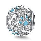Damen Charms Silber Hundeknochen Puppy Paw Blue Emaille Bead Charm für Pandora Armbänder