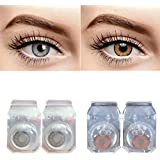 C&I Disposable Contact Lens with Case and Solution (Grey and Honey) - Pack of 2 Pair