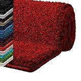 casa pura Badematte Hochflor Sky Soft | Weicher, Flauschiger Badezimmerteppich in Shaggy-Optik | Badvorleger Rutschfest waschbar | Öko-Tex 100 Zertifiziert | 16 Farben in 6 Größen (80x150 cm, rot)