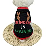 Walaha Christmas Pet Dog Clothing Polyester T shirt Puppy Antlers Costume