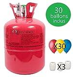 Thequeenwigs Bouteille d'Hélium 0.25m3 (99.99% d'Helium) (Marque Française) + 30 Ballons + Bolduc