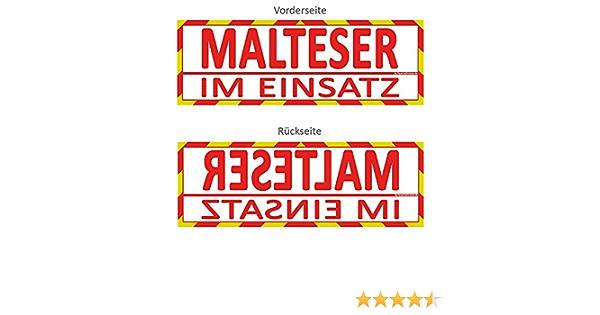 Feuerwehrstore Malteser Im Einsatz Wendeschild Wsb2 Für Die Sonnenblende In Normal Spiegelschrift Malteser Auto