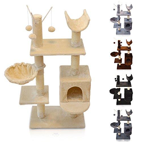 ZooPrimus Katzen-Baum D2 Kratz-Turm Spiel-Baum für Katzen (Beige)