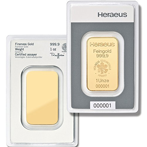Goldbarren 31,1 g 31,1g 1oz Gramm Heraeus Feingold 999.9 LBMA zertifiziert online kaufen Edelmetalle